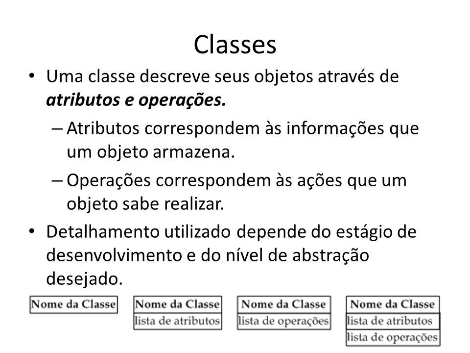 Classes Uma classe descreve seus objetos através de atributos e operações. – Atributos correspondem às informações que um objeto armazena. – Operações