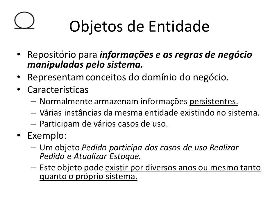Objetos de Entidade Repositório para informações e as regras de negócio manipuladas pelo sistema. Representam conceitos do domínio do negócio. Caracte
