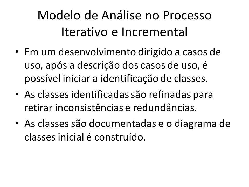 Modelo de Análise no Processo Iterativo e Incremental Em um desenvolvimento dirigido a casos de uso, após a descrição dos casos de uso, é possível ini