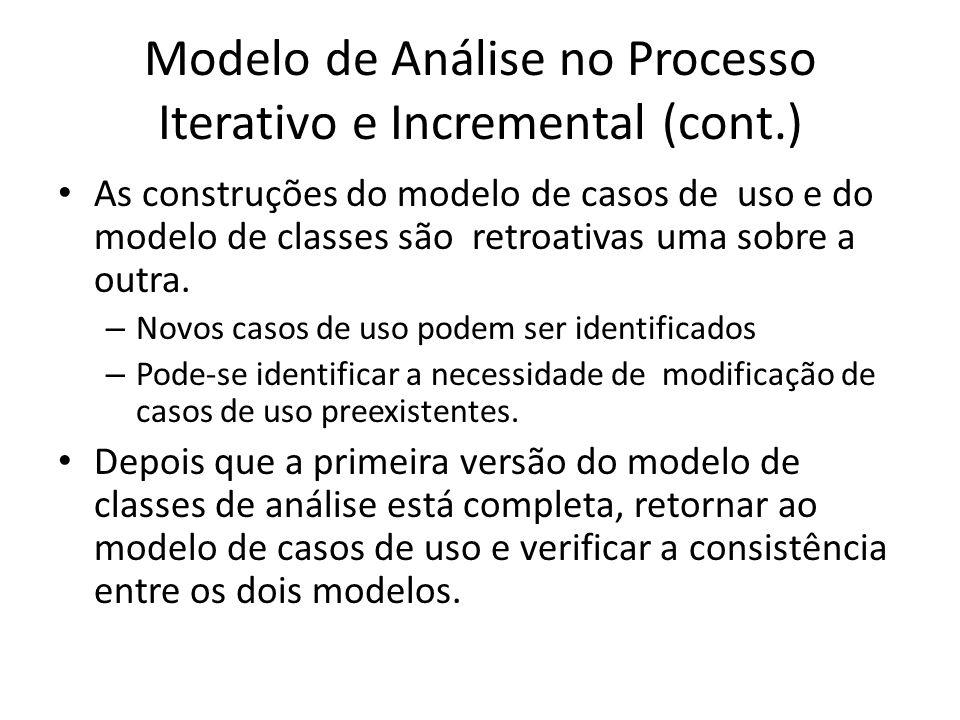 Modelo de Análise no Processo Iterativo e Incremental (cont.) As construções do modelo de casos de uso e do modelo de classes são retroativas uma sobr