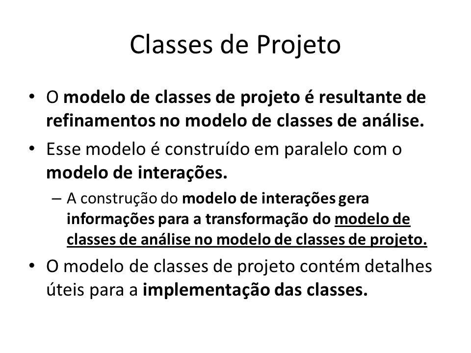 Classes de Projeto O modelo de classes de projeto é resultante de refinamentos no modelo de classes de análise. Esse modelo é construído em paralelo c