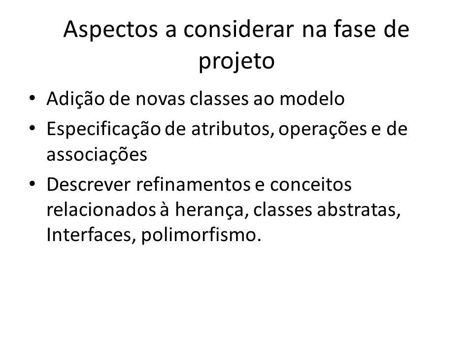 Aspectos a considerar na fase de projeto Adição de novas classes ao modelo Especificação de atributos, operações e de associações Descrever refinament