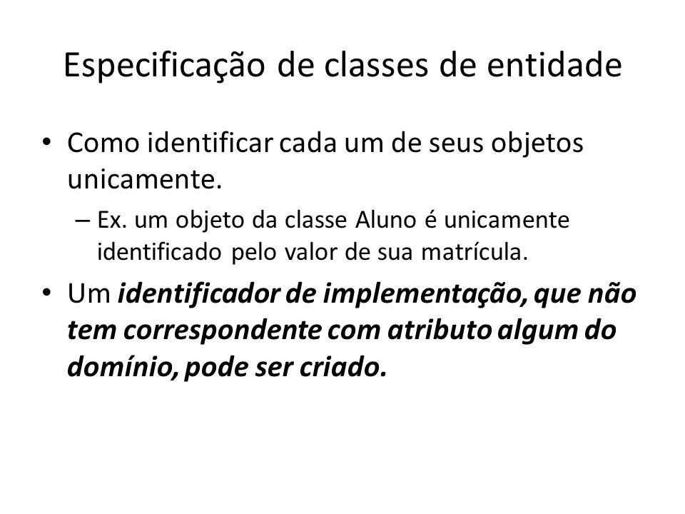 Especificação de classes de entidade Como identificar cada um de seus objetos unicamente. – Ex. um objeto da classe Aluno é unicamente identificado pe