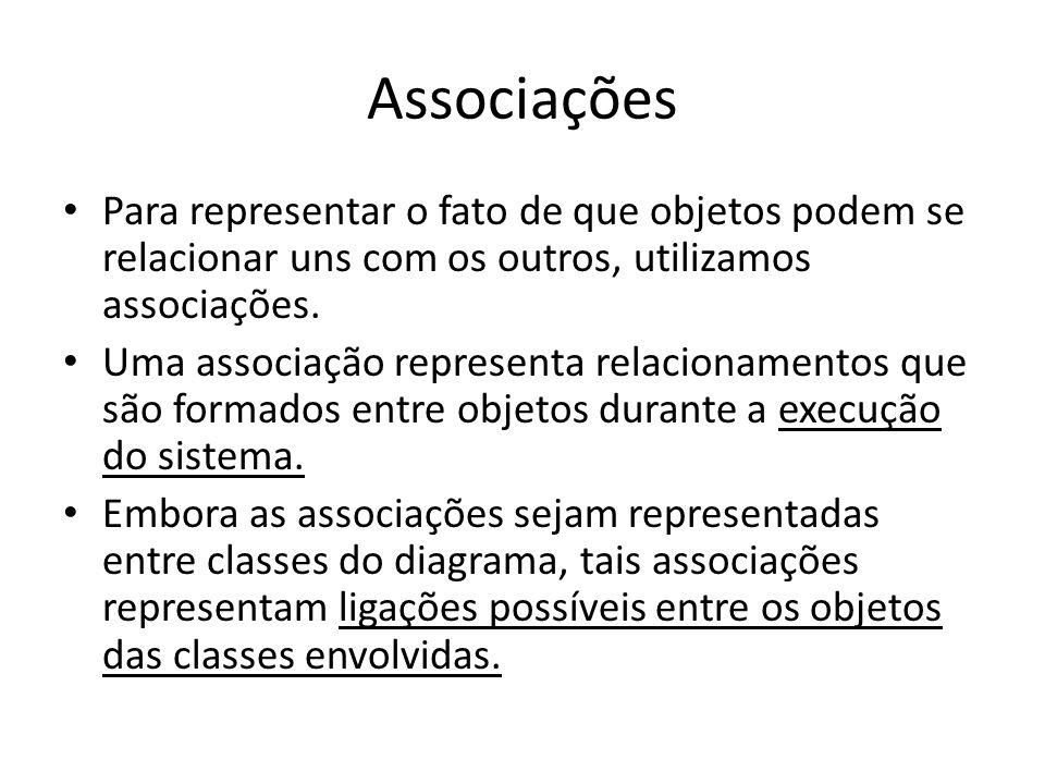 Notação para associações Na UML associações são representadas por uma linha que liga as classes cujos objetos se relacionam.