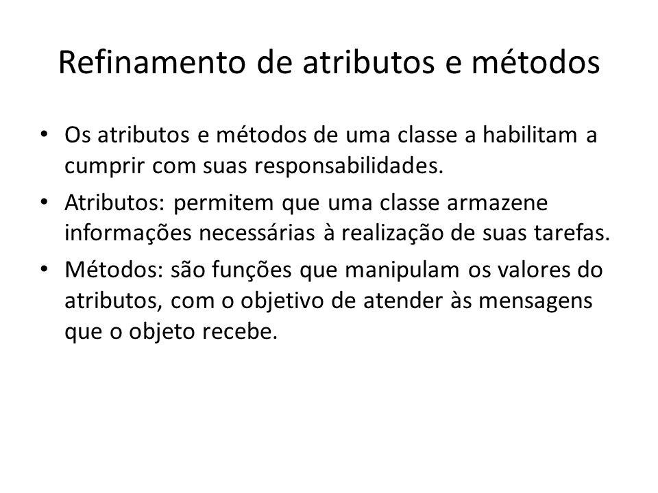 Refinamento de atributos e métodos Os atributos e métodos de uma classe a habilitam a cumprir com suas responsabilidades. Atributos: permitem que uma