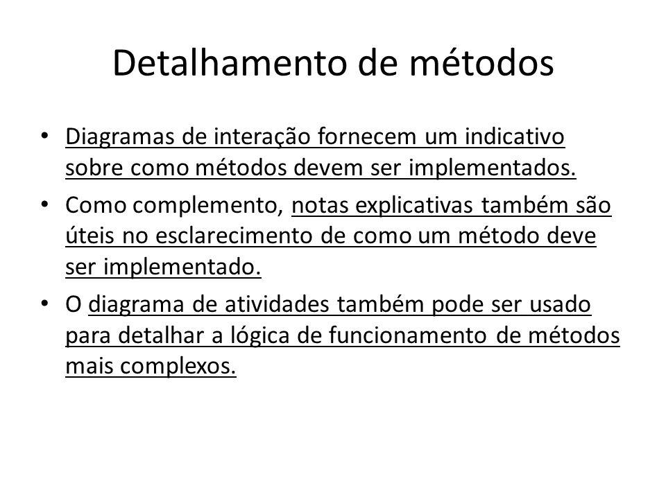 Detalhamento de métodos Diagramas de interação fornecem um indicativo sobre como métodos devem ser implementados. Como complemento, notas explicativas