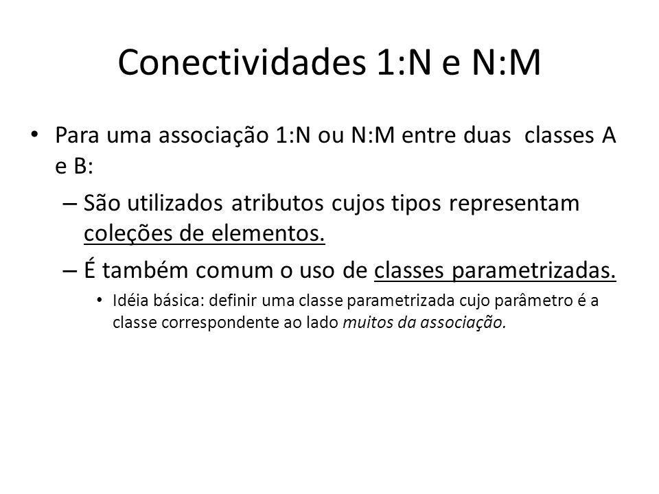 Conectividades 1:N e N:M Para uma associação 1:N ou N:M entre duas classes A e B: – São utilizados atributos cujos tipos representam coleções de eleme