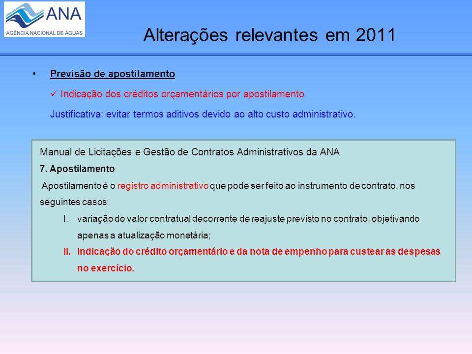 Alterações relevantes em 2011 Previsão de apostilamento Indicação dos créditos orçamentários por apostilamento Justificativa: evitar termos aditivos devido ao alto custo administrativo.