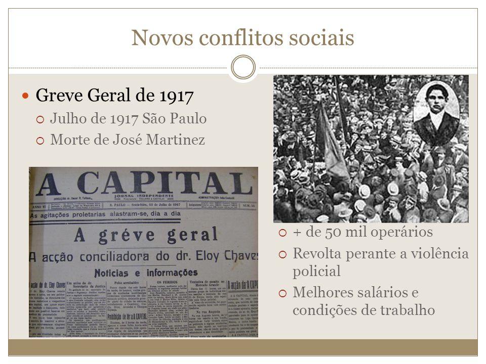 Greve Geral de 1917 Julho de 1917 São Paulo Morte de José Martinez Novos conflitos sociais + de 50 mil operários Revolta perante a violência policial