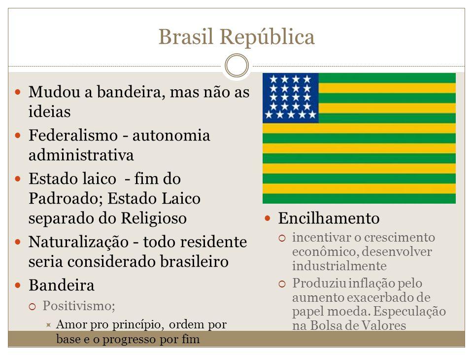 Brasil República Mudou a bandeira, mas não as ideias Federalismo - autonomia administrativa Estado laico - fim do Padroado; Estado Laico separado do R