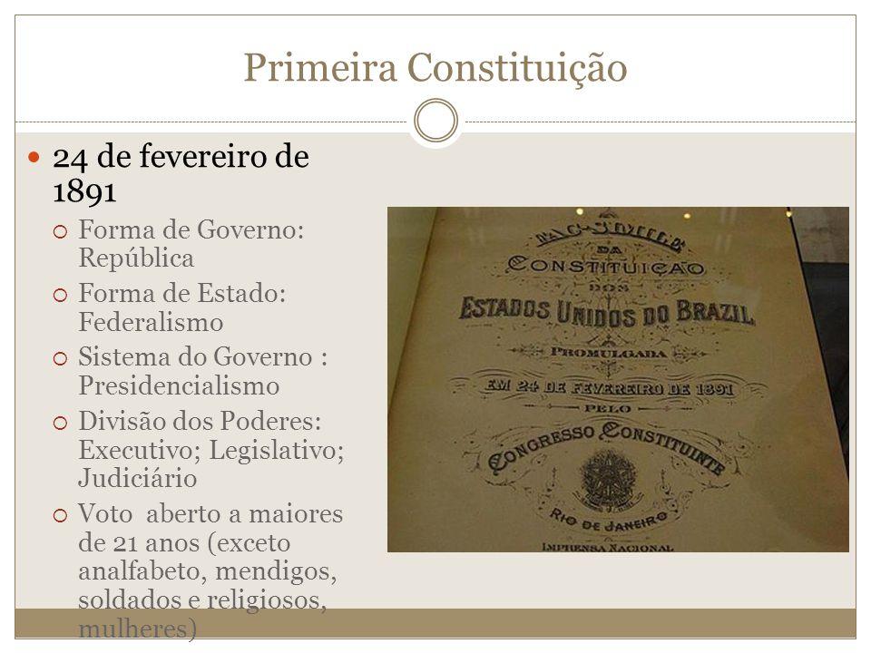 Primeira Constituição 24 de fevereiro de 1891 Forma de Governo: República Forma de Estado: Federalismo Sistema do Governo : Presidencialismo Divisão d