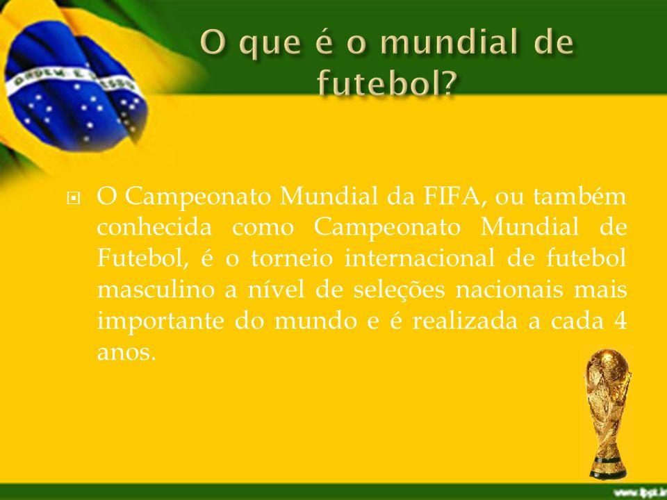 O Campeonato Mundial da FIFA, ou também conhecida como Campeonato Mundial de Futebol, é o torneio internacional de futebol masculino a nível de seleções nacionais mais importante do mundo e é realizada a cada 4 anos.