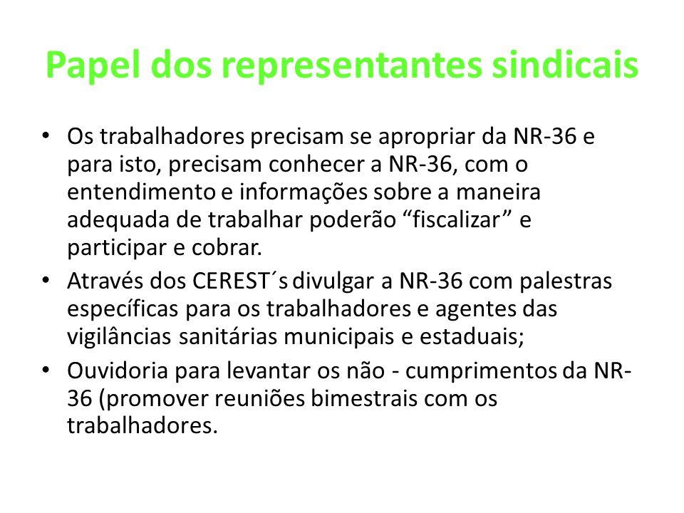Papel dos representantes sindicais Os trabalhadores precisam se apropriar da NR-36 e para isto, precisam conhecer a NR-36, com o entendimento e inform