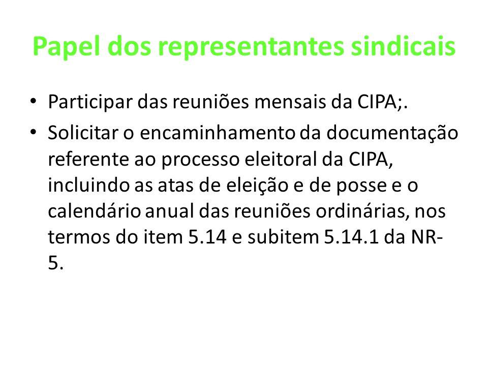 Papel dos representantes sindicais Participar das reuniões mensais da CIPA;. Solicitar o encaminhamento da documentação referente ao processo eleitora