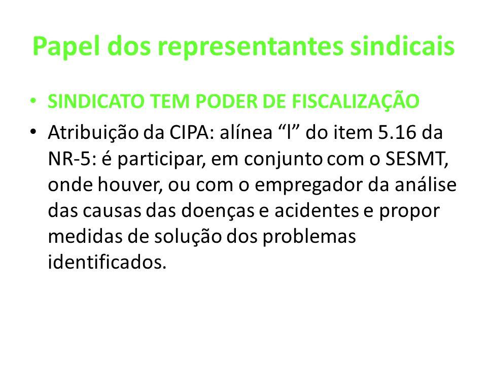 Papel dos representantes sindicais SINDICATO TEM PODER DE FISCALIZAÇÃO Atribuição da CIPA: alínea l do item 5.16 da NR-5: é participar, em conjunto co