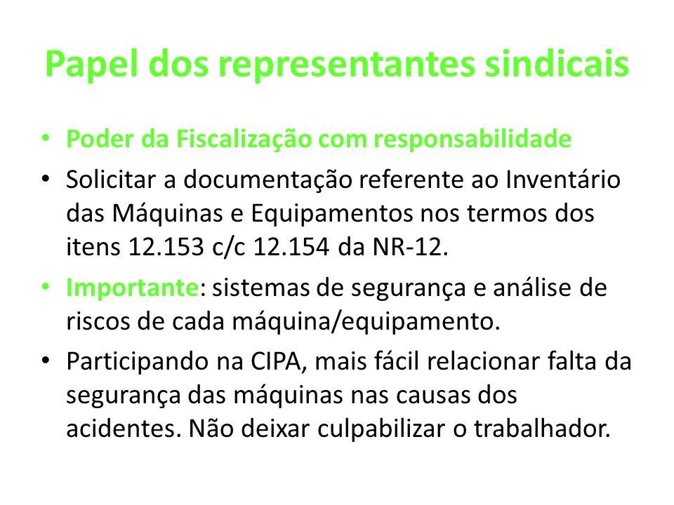 Papel dos representantes sindicais Poder da Fiscalização com responsabilidade Solicitar a documentação referente ao Inventário das Máquinas e Equipamentos nos termos dos itens 12.153 c/c 12.154 da NR-12.