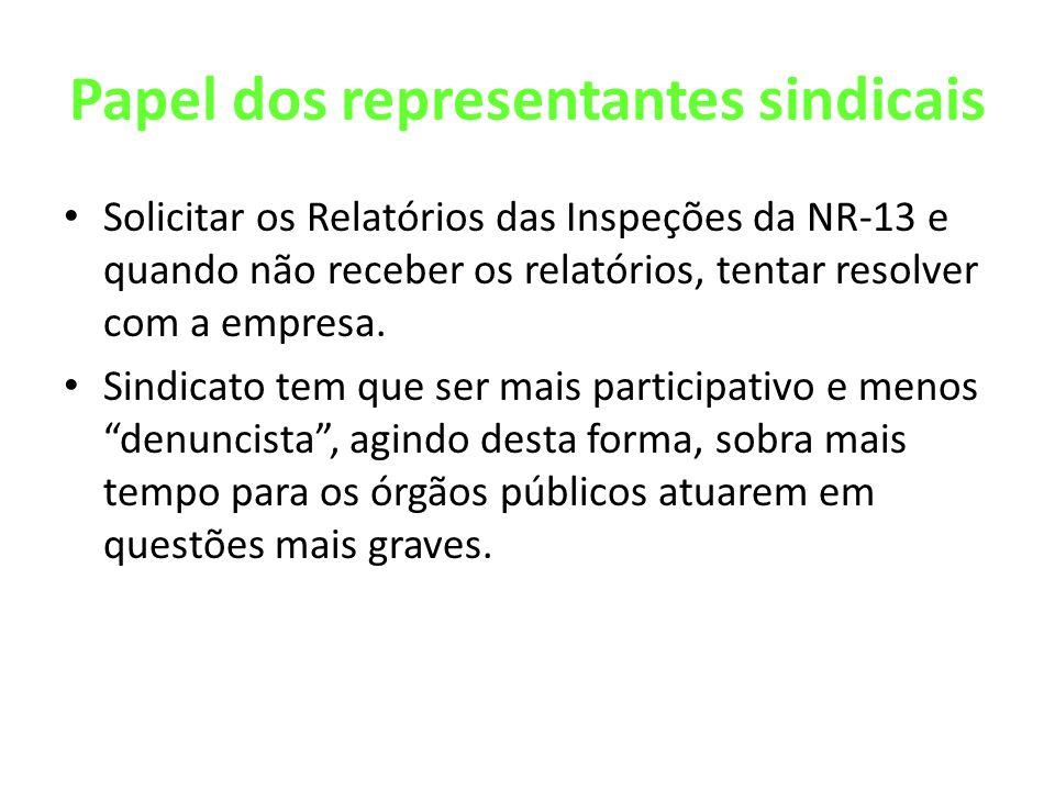 Papel dos representantes sindicais Solicitar os Relatórios das Inspeções da NR-13 e quando não receber os relatórios, tentar resolver com a empresa. S