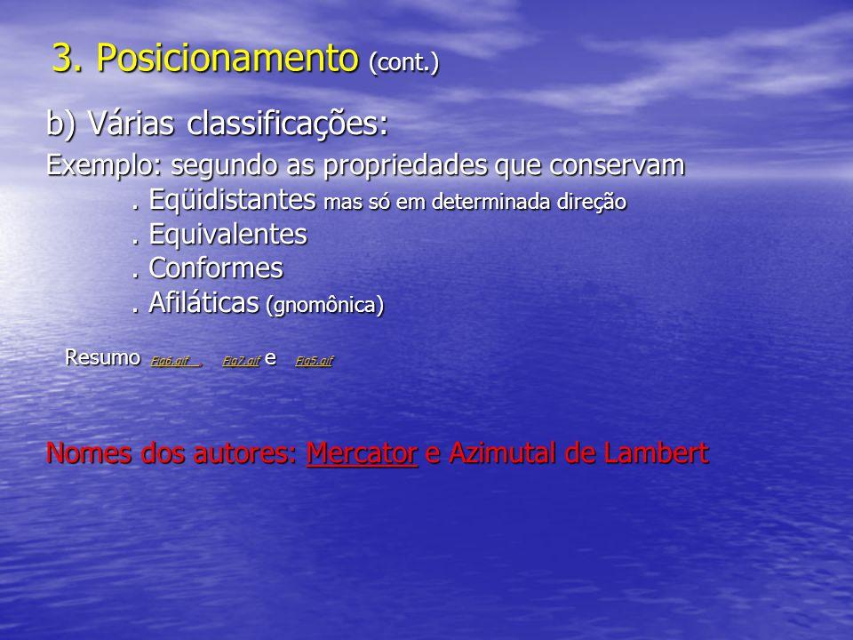 3. Posicionamento (cont.) b) Várias classificações: Exemplo: segundo as propriedades que conservam. Eqüidistantes mas só em determinada direção. Equiv