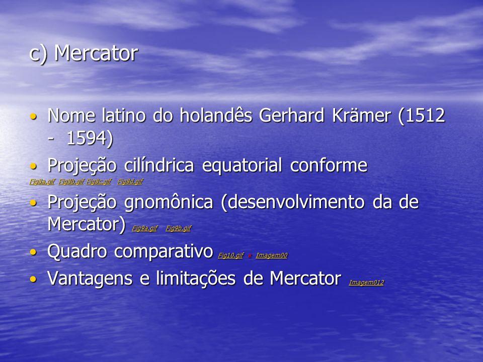 c) Mercator Nome latino do holandês Gerhard Krämer (1512 - 1594) Nome latino do holandês Gerhard Krämer (1512 - 1594) Projeção cilíndrica equatorial c