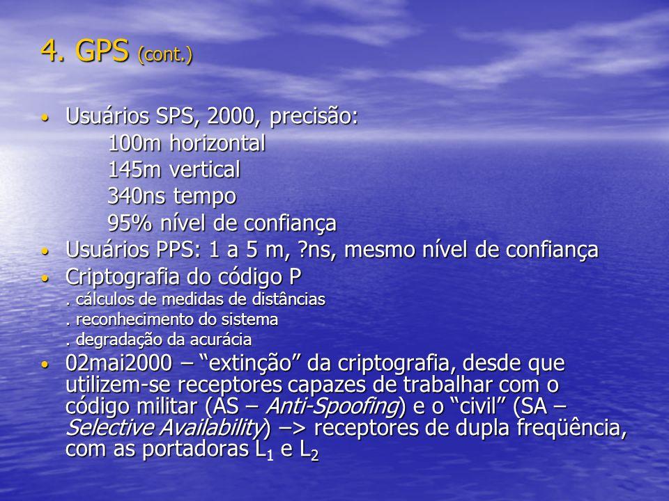 4. GPS (cont.) Usuários SPS, 2000, precisão: Usuários SPS, 2000, precisão: 100m horizontal 145m vertical 340ns tempo 95% nível de confiança Usuários P