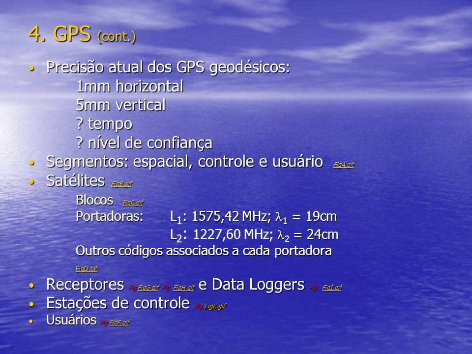 4. GPS (cont.) Precisão atual dos GPS geodésicos: Precisão atual dos GPS geodésicos: 1mm horizontal 5mm vertical ? tempo ? nível de confiança Segmento