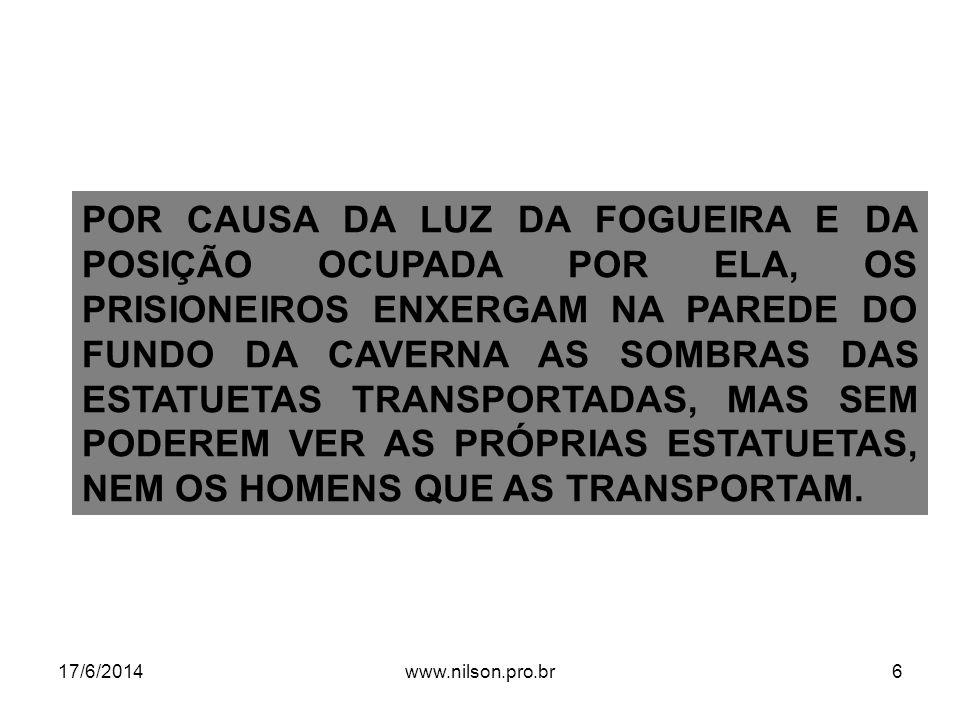 NÍVEIS DE INTERPRETAÇÃO DO MITO DA CAVERNA 17/6/2014www.nilson.pro.br17