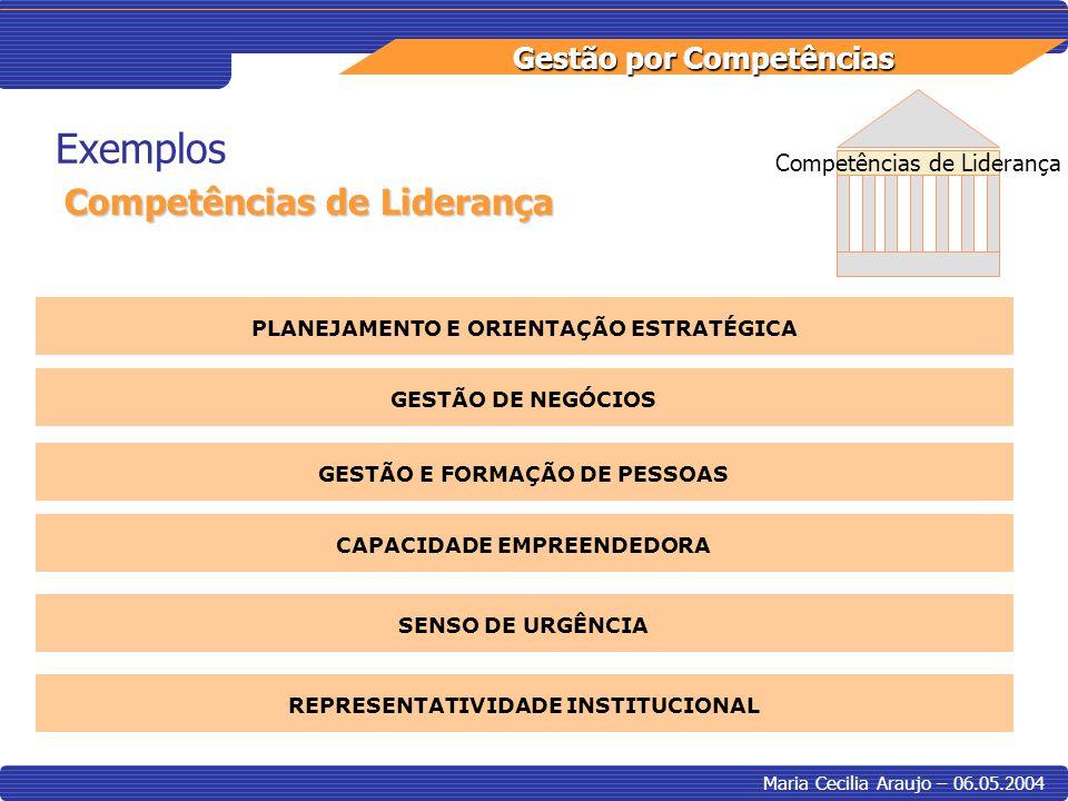 Gestão por Competências Maria Cecilia Araujo – 06.05.2004 Exemplos Competências de Liderança PLANEJAMENTO E ORIENTAÇÃO ESTRATÉGICA GESTÃO DE NEGÓCIOS