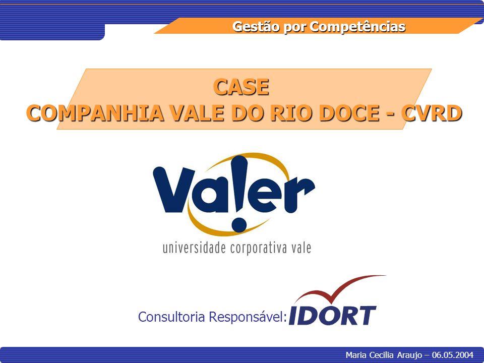 Gestão por Competências Maria Cecilia Araujo – 06.05.2004 CASE COMPANHIA VALE DO RIO DOCE - CVRD Consultoria Responsável: