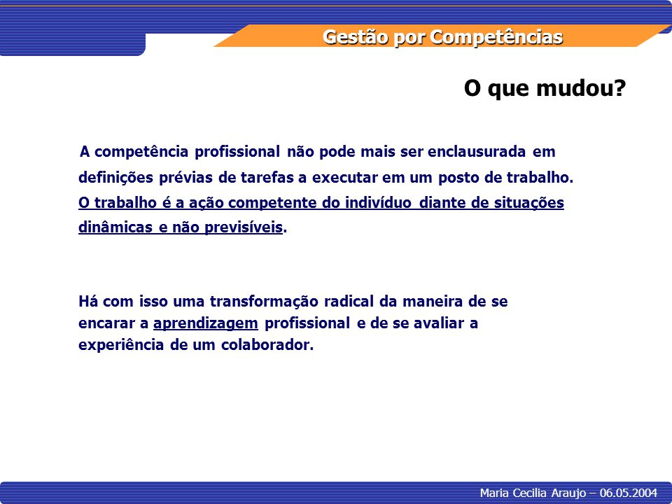Gestão por Competências Maria Cecilia Araujo – 06.05.2004 O que mudou? A competência profissional não pode mais ser enclausurada em definições prévias