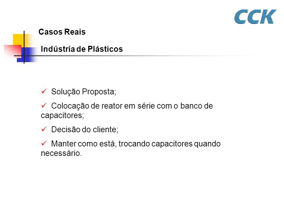 Casos Reais Indústria de Plásticos Solução Proposta; Colocação de reator em série com o banco de capacitores; Decisão do cliente; Manter como está, tr
