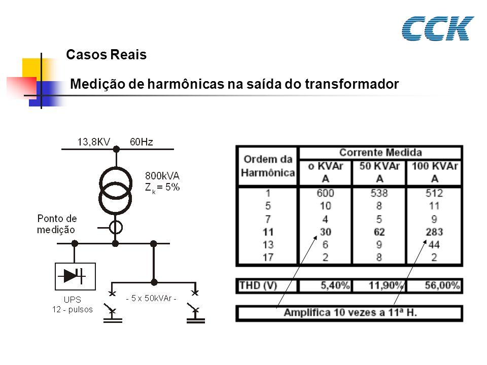Casos Reais Medição de harmônicas na saída do transformador