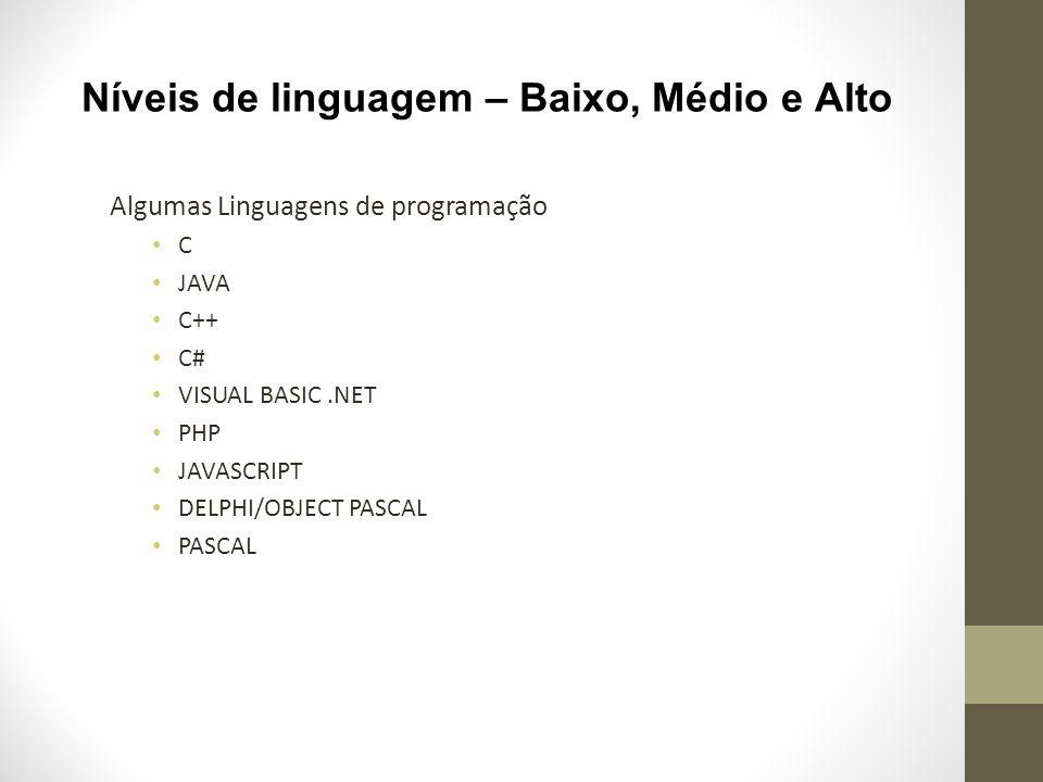 Níveis de linguagem – Baixo, Médio e Alto Algumas Linguagens de programação C JAVA C++ C# VISUAL BASIC.NET PHP JAVASCRIPT DELPHI/OBJECT PASCAL PASCAL