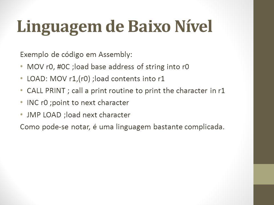Linguagem de Baixo Nível Exemplo de código em Assembly: MOV r0, #0C ;load base address of string into r0 LOAD: MOV r1,(r0) ;load contents into r1 CALL