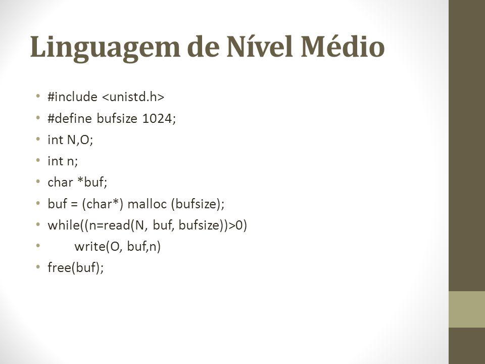 Linguagem de Nível Médio #include #define bufsize 1024; int N,O; int n; char *buf; buf = (char*) malloc (bufsize); while((n=read(N, buf, bufsize))>0)