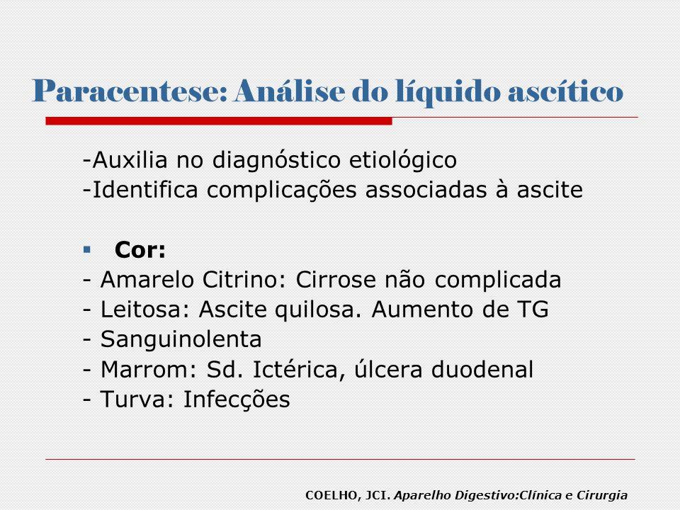Paracentese: Análise do líquido ascítico -Auxilia no diagnóstico etiológico -Identifica complicações associadas à ascite Cor: - Amarelo Citrino: Cirro