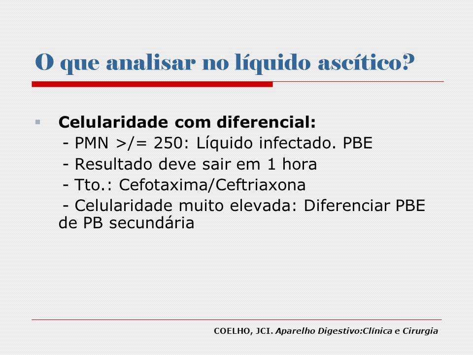 O que analisar no líquido ascítico? Celularidade com diferencial: - PMN >/= 250: Líquido infectado. PBE - Resultado deve sair em 1 hora - Tto.: Cefota