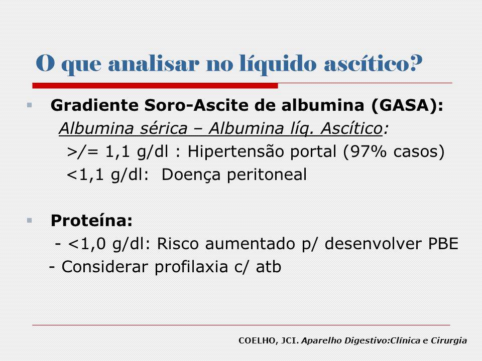 O que analisar no líquido ascítico? Gradiente Soro-Ascite de albumina (GASA): Albumina sérica – Albumina líq. Ascítico: >/= 1,1 g/dl : Hipertensão por