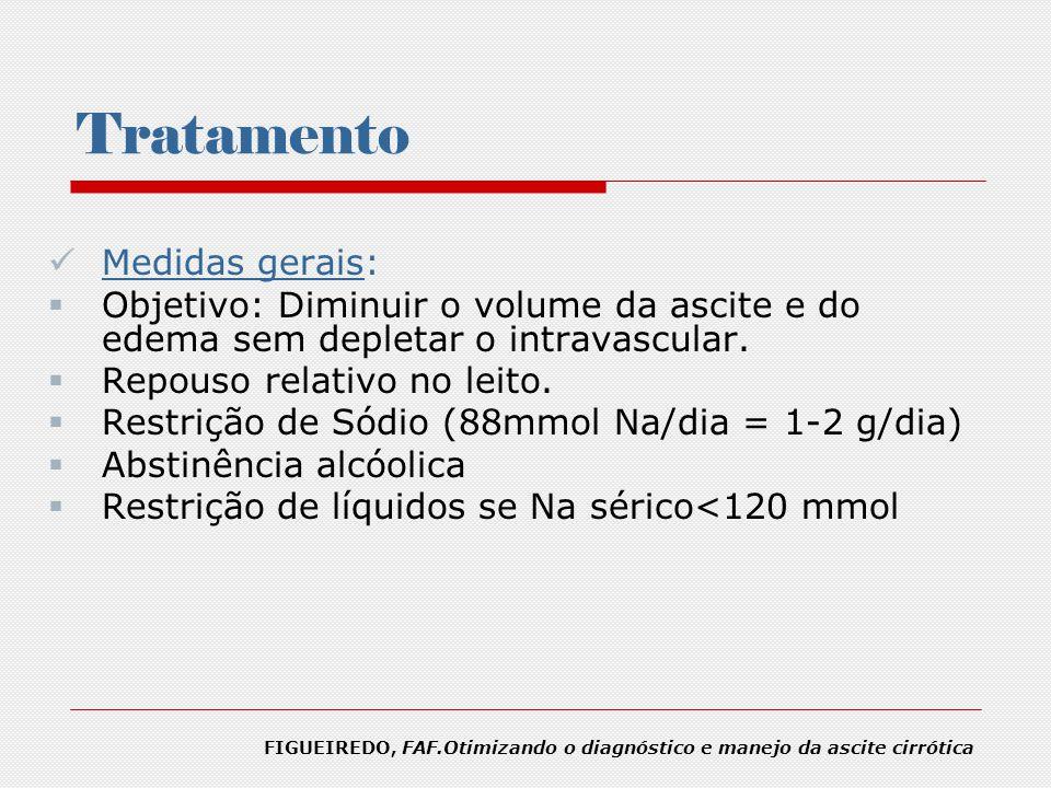 Tratamento Medidas gerais: Objetivo: Diminuir o volume da ascite e do edema sem depletar o intravascular. Repouso relativo no leito. Restrição de Sódi