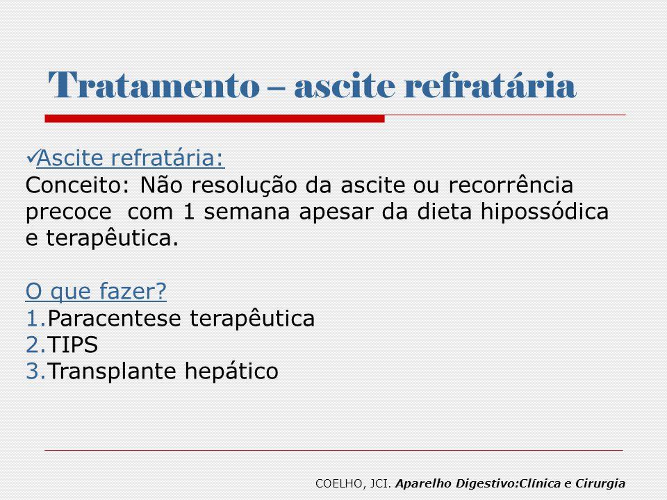 Tratamento – ascite refratária Ascite refratária: Conceito: Não resolução da ascite ou recorrência precoce com 1 semana apesar da dieta hipossódica e