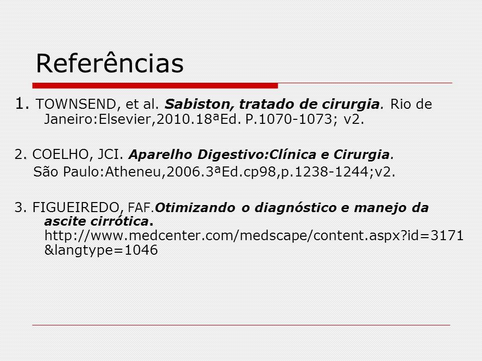 Referências 1. TOWNSEND, et al. Sabiston, tratado de cirurgia. Rio de Janeiro:Elsevier,2010.18ªEd. P.1070-1073; v2.. 2. COELHO, JCI. Aparelho Digestiv