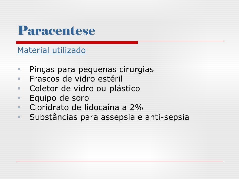 Paracentese Material utilizado Pinças para pequenas cirurgias Frascos de vidro estéril Coletor de vidro ou plástico Equipo de soro Cloridrato de lidoc