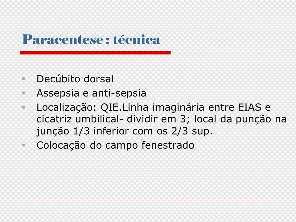 Paracentese: técnica Anestesia local com lidocaína (2 a 5ml) Introduzir o abocath (conectado à seringa) Retirar 20 ml Conectar coletor