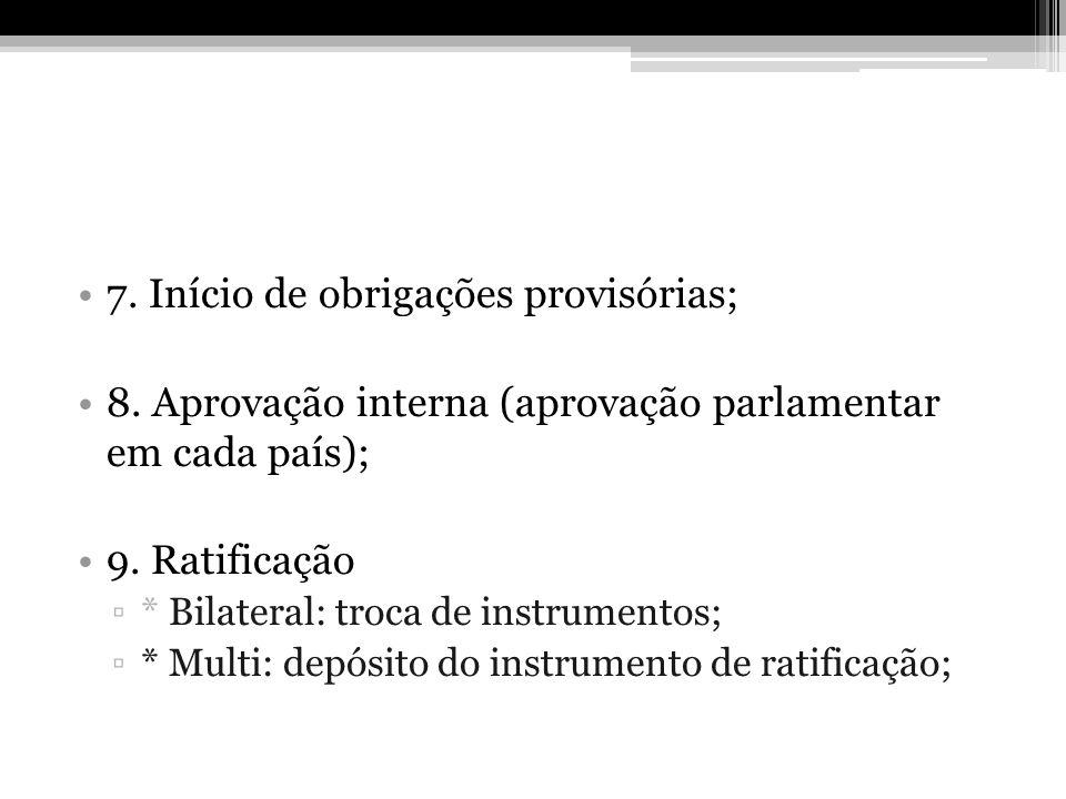 7. Início de obrigações provisórias; 8. Aprovação interna (aprovação parlamentar em cada país); 9. Ratificação * Bilateral: troca de instrumentos; * M