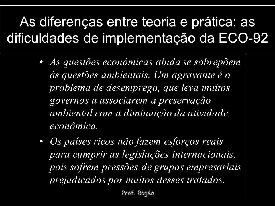 Prof. Bogéa As diferenças entre teoria e prática: as dificuldades de implementação da ECO-92 As questões econômicas ainda se sobrepõem às questões amb