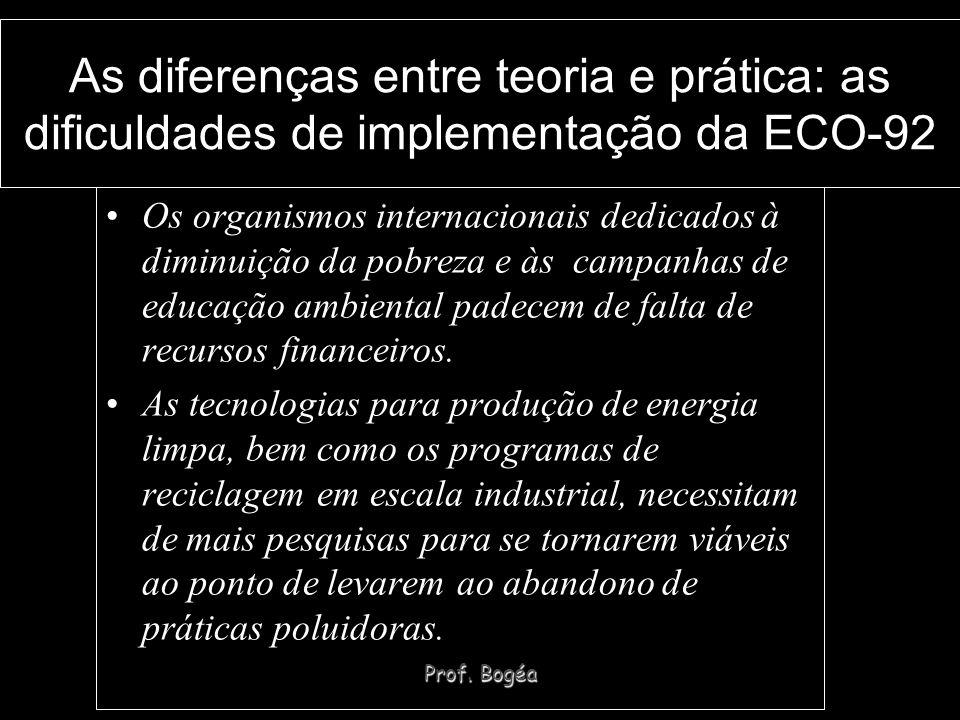 Prof. Bogéa As diferenças entre teoria e prática: as dificuldades de implementação da ECO-92 Os organismos internacionais dedicados à diminuição da po