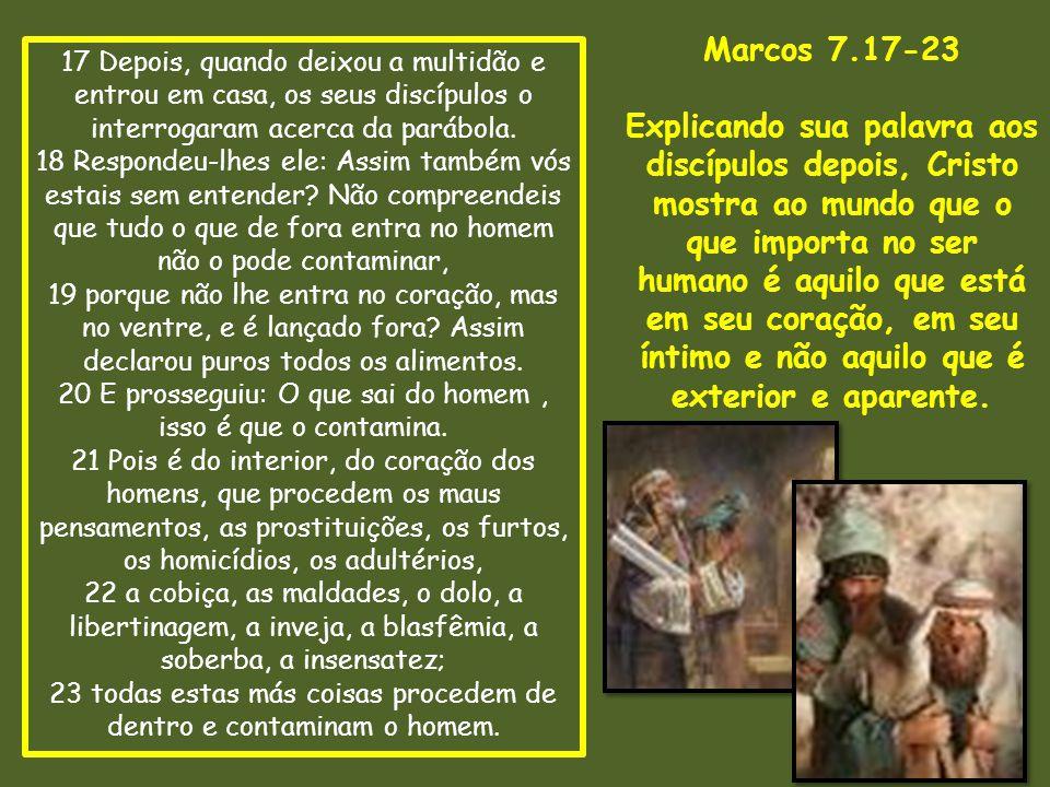 17 Depois, quando deixou a multidão e entrou em casa, os seus discípulos o interrogaram acerca da parábola. 18 Respondeu-lhes ele: Assim também vós es