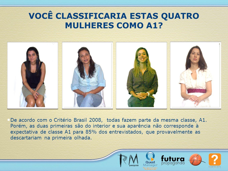 De acordo com o Critério Brasil 2008, todas fazem parte da mesma classe, A1. Porém, as duas primeiras são do interior e sua aparência não corresponde