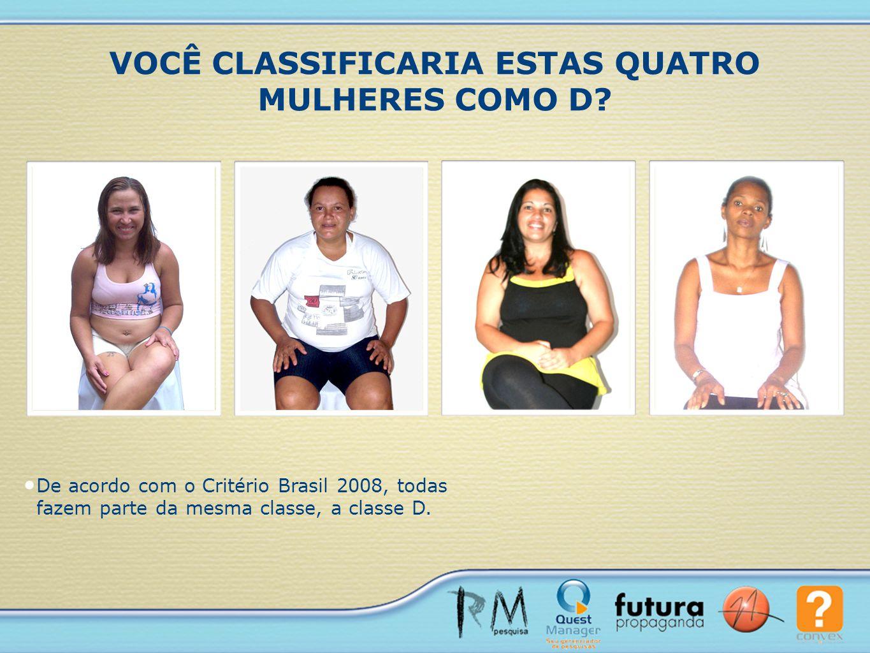 De acordo com o Critério Brasil 2008, todas fazem parte da mesma classe, a classe D. VOCÊ CLASSIFICARIA ESTAS QUATRO MULHERES COMO D?
