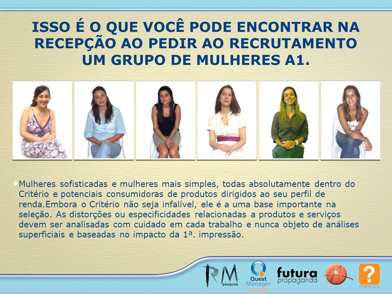 Na avaliação visual, estas mulheres de São Paulo acabaram sendo classificadas em classes mais altas (ninguém identificou a primeira na classe D e só 12% identificaram a segunda nesta classe), enquanto as mulheres de Ribeirão Preto foram mais identificadas à classe D (33% a primeira e 34% a segunda).