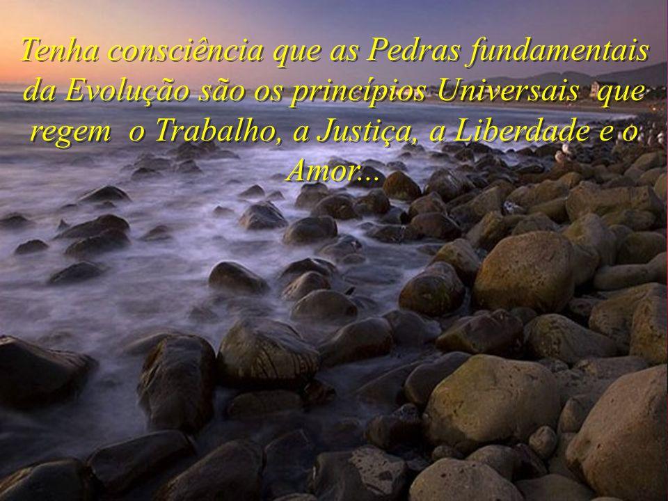 Tenha consciência que as Pedras fundamentais da Evolução são os princípios Universais que regem o Trabalho, a Justiça, a Liberdade e o Amor...